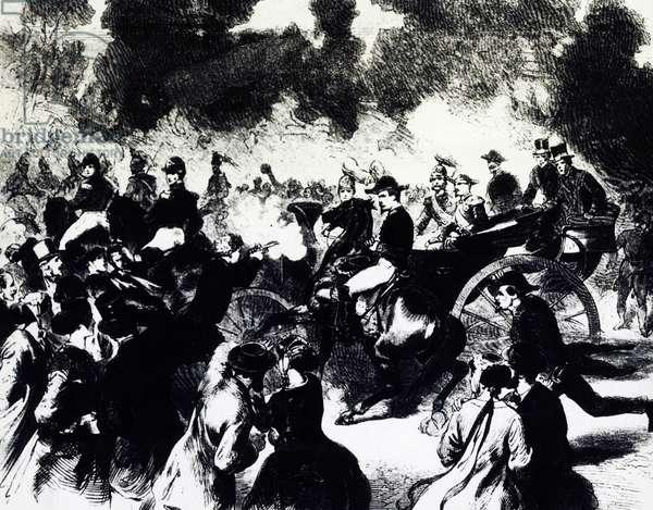 Bombing of Paris where Tsar Alexander II Romanov escaped death, 1867, engraving