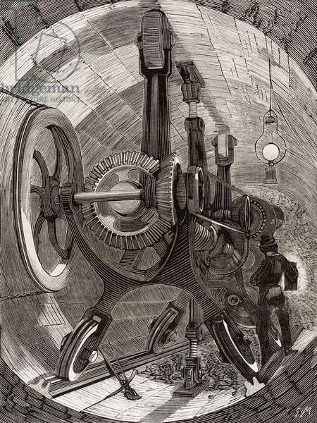 Drilling machine for digging tunnel in English Channel, illustration from La Ilustracion Espanola y Americana magazine, Year 19, Number 15, April 22, 1875