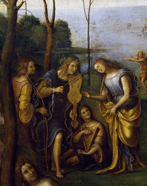 Musicians, detail from Kingdom of God Como, by Lorenzo di Ottavio Costa, 1511, oil and tempera on wood