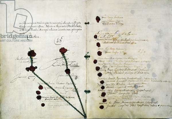 Peace treaty of Westphalia at the end of Thirty Years' War, 1648, Germany, 17th century