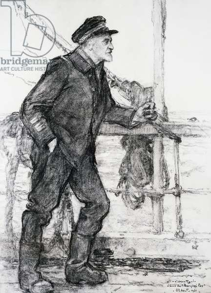 Portrait of Jean-Baptiste Charcot (1867 - 1936), French explorer and navigator on board of Pourquoi Pas, by Montagne, drawing, 19th century