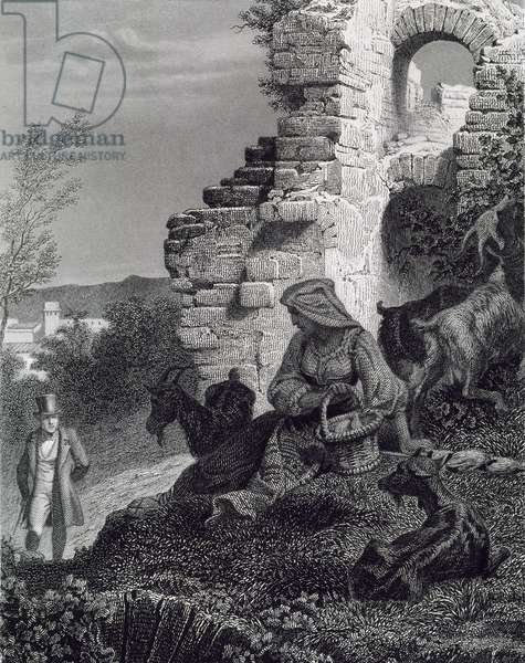 Goatherd, illustration for Memoirs from Beyond Grave, published posthumously in 1848, by Francois-Rene de Chateaubriand (1768-1848), Engraving by Henri Felix Emmanuel Philippoteaux (1815-1884)