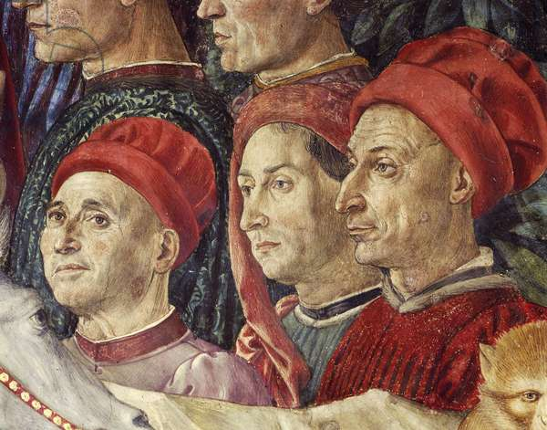 Procession of the Magi Kings to Bethlehem, 1459, by Benozzo Gozzoli (1420-1497), fresco, tempera and oil on wall. Detail. Chapel of Palazzo Medici Riccardi, Florence.