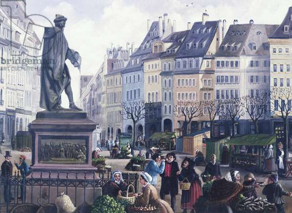 Gutenberg Square in Strasbourg, by Ottomar Weymann, France, 19th Century Watercolour