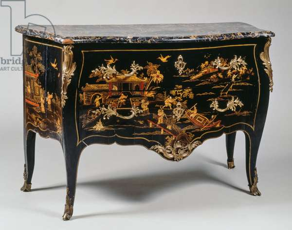 Louis XV style commode, in European lacquer with decoration on black background according to Chinese taste, with marble top, two drawers, arched uprights and legs, chiseled and golden bronze decorations