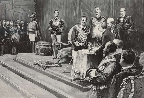 King Vittorio Emanuele III signing wording of oath, Rome, Italy, illustration from L'Illustration, No 2999, August 18, 1900