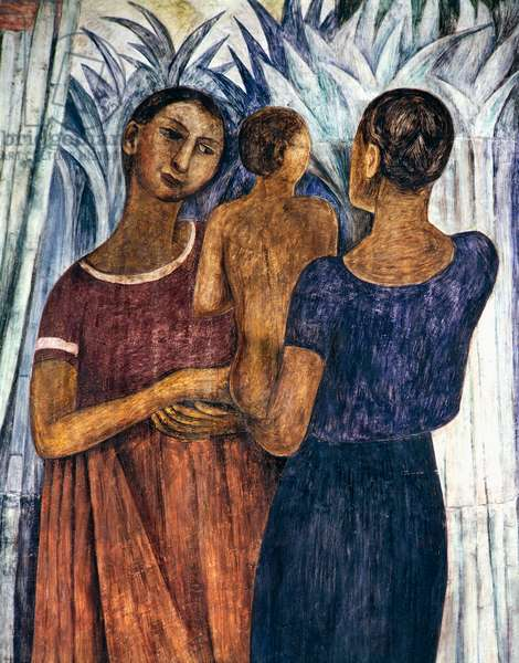 Women with a child, by Diego Rivera (1886-1957), detail from the Ministry of Education frescoes (1923-1928), Mexico City. Mexico, 20th century.