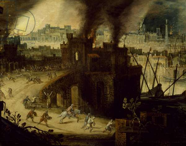 Burning of Troy, 1603, by Pieter Schoubroeck (circa 1570-1607), oil on copper, 28x52 cm, Detail