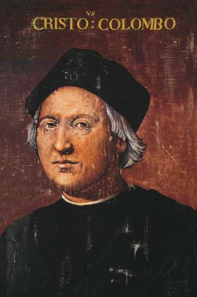 Portrait of Christopher Columbus (1451-1506), Italian explorer and navigator, painting inspired from work by Ridolfo Ghirlandaio