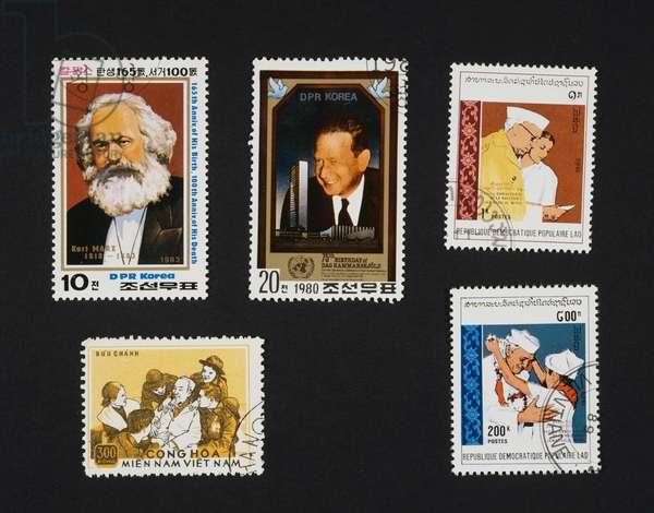 Postage stamp honoring Karl Marx, 1983, North Korea, Dag Hammarskjold (1905-1961), 1980, North Korea, Jawaharlal Nehru, 1989, Laos, Ho Chi Minh (1890-1969), 1975, Jawaharlal Nehru, 1989, Laos, North Korea and Laos, 20th century
