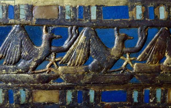 Sphinxes, Detail from decoration of footrest of Tutankhamun's throne, in wood, gold leaf, Silver, Glass gems and precious stones, From Tomb of Tutankhamun, Egyptian civilization, Dynasty XVIII