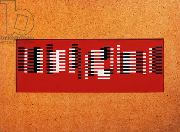 Fugue, 1925, by Josef Albers (1888-1976), collage with opaque red glass and painted with oil. Germany, 20th century.