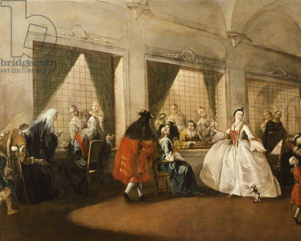 The parlor of nuns of San Zaccaria, by Francesco Guardi (1712-1793), oil on canvas, 108x208 cm, 1746