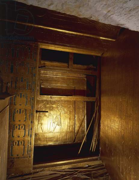 Replica of gilded wooden catafalque containing mummy, from King Tutankhamen's tomb
