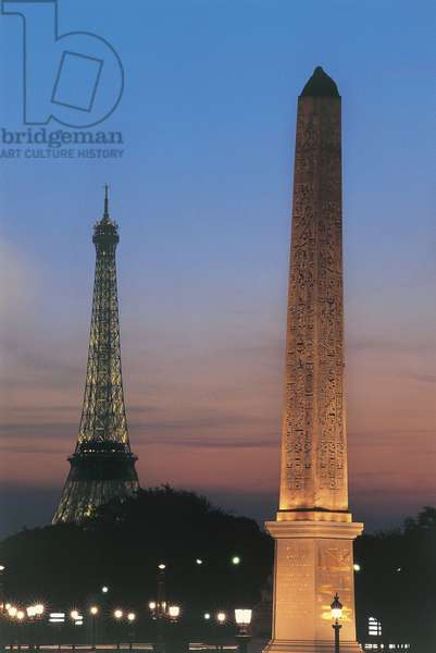 Obelisk in front of a tower, Obelisk of Luxor, Eiffel Tower, Paris, France