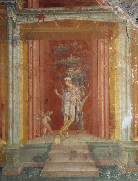 Theatre scene, fresco (IV style) on red background from House of Pinarius Cerialis, Pompeii (Unesco World Heritage List, 1997), Roman civilization, 1st century AD