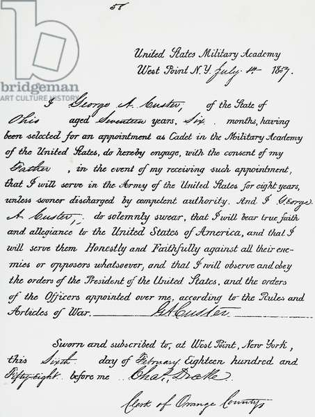 Document of the oath of cadet George Armstrong Custer, future general, West Point Military Academy, February 6, 1858. United States, 19th century.