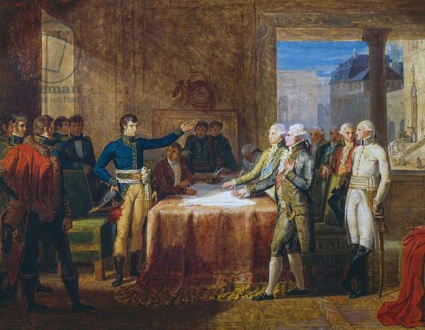 Napoleon Bonaparte accepting the Provisional Armistice of Leoben, April 17, 1797, painting by Guillaume Guillon Lethiere, French Revolution, 18th century