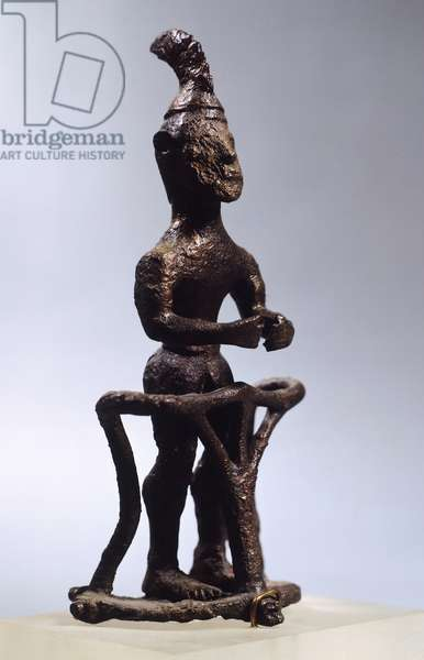 Divinity on a chariot, bronze statue from archaic age (Greece), Greek Civilization, early 8th Century BC