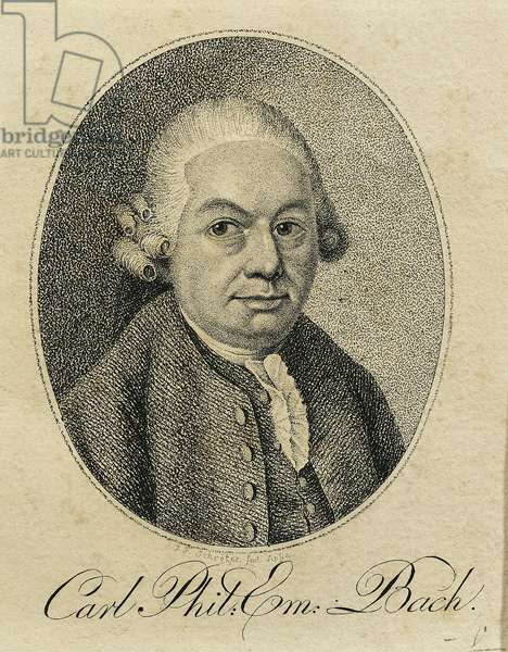 Germany, Portrait of Carl Philipp Emanuel Bach (Weimar, 1714 - Hamburg, 1788), German composer and organist, engraving