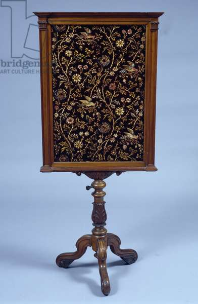 Louis Philippe style firescreen with floral motifs, France, 19th century