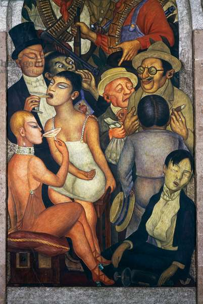 Orgy or night of the rich, by Diego Rivera (1886-1957), detail from the Ministry of Education frescoes (1923-1928), Mexico City. Mexico, 20th century.