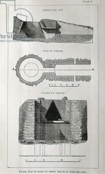 Mycenae, facade, plan and profile of treasure at the Lion Gate, by Heinrich Schliemann, engraving
