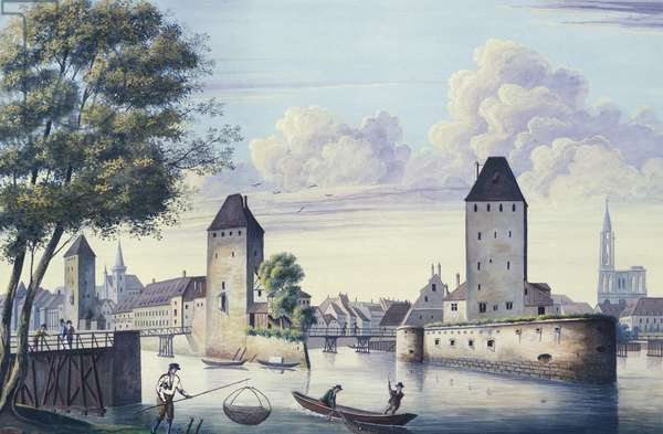 The Bridges of Strasbourg, 1830, by Koloman Moser, France 19th Century Watercolour