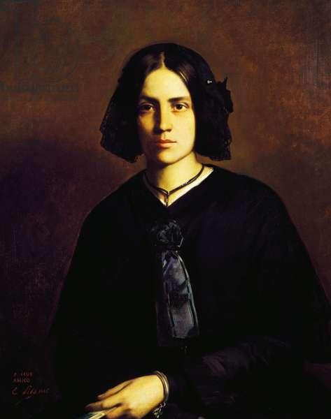 Portrait of Mademoiselle Bunel, 1845, painting by Edouard Aime Pils (1823-1850)