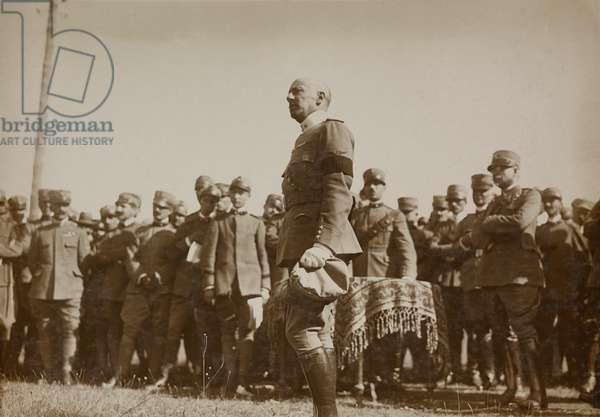 Gabriele d'Annunzio during Nastro Azzurro (Blue Ribbon) Ceremony, July 22, 1917, Aviano, World War I, Italy, 20th century
