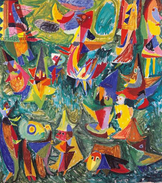 Guganaga, 1945, by Jorn Asger (1914-1973), oil on masonite, 141x127 cm. Denmark, 20th century.