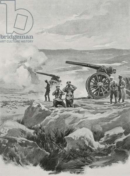Bulgarian artillery firing on Adrianople (Edirne), Turkey, First Balkan War, drawing by Aldo Molinari, from L'Illustrazione Italiana, Year XL, No 7, February 16, 1913
