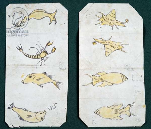 Motifs for bathroom tiles, Chateau d'Eu, by Eugene Emmanuel Viollet-Le-Duc (1814-1879), watercolor drawing
