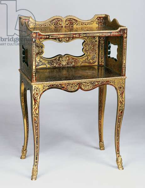 Second Empire (Napoleon III) coffee table with Louis XV style frame, Boulle style brass on turtleshell marquetry, France, 19th century