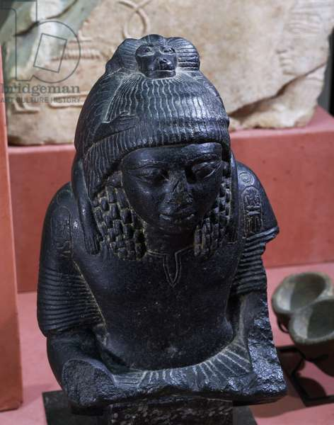 God Thoth as baboon protecting royal scribe and General of Ramesses II, basalt statue, Egyptian civilization, New Kingdom, Dynasty XIX
