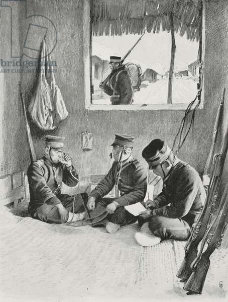 Japanese telephone station in hut in Sunan, North Korea, Russo-Japanese War, drawing after photo by Dunn, from L'Illustration, No 3194, May 14, 1904