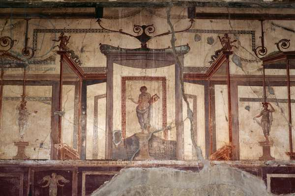 Fresco from the triclinium, House of the Tuscan Colonnade, Herculaneum (UNESCO World Heritage List, 1997), Campania, Italy. Roman civilization, 1st century AD