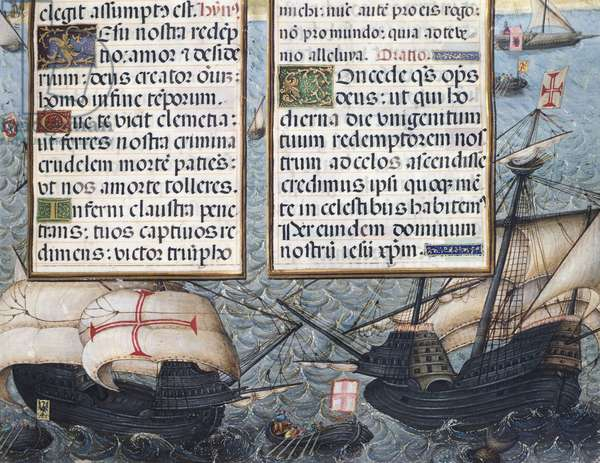 Portuguese caravels, miniature from Book of Hours of the Duchess of Burgundy, manuscript, France 16th Century.