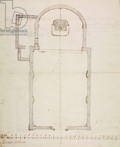 Design for Oratory, Gessate, parish of Gorgonzola, December 2, 1752, Cardinal Giuseppe Pozzobonelli, plan, Italy, 18th century