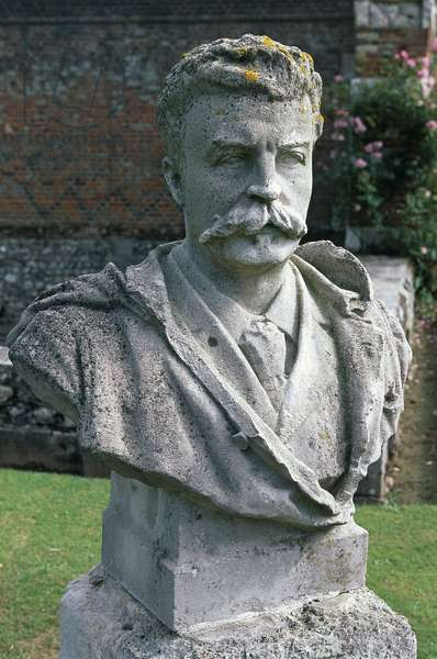 Bust of Guy De Maupassant, garden of the Castle of Miromesnil, France, Upper Normandy