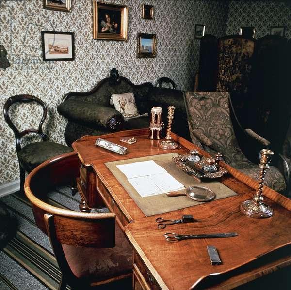 Desk in Hans Christian Andersen's childhood home (1805-1875), Odense, Denmark