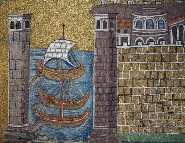 Ships in the port of Classe mosaic, north wall, lower level, Basilica of Sant'Apollinare Nuovo (UNESCO World Heritage List, 1996), Ravenna, Emilia-Romagna. Detail. Italy, 5th-6th century.