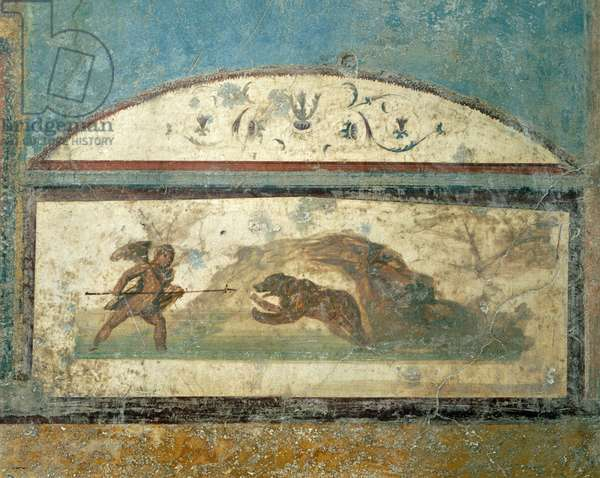 Fresco showing hunting scene, from House of Ancient Hunt, Pompeii , Campania, Roman Civilization, 1st Century