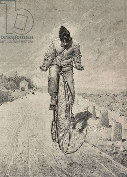 Military mail, soldier on velocipede, from painting by Angelo Costa, engraving from L'Illustrazione Italiana, No 7, February 14, 1886