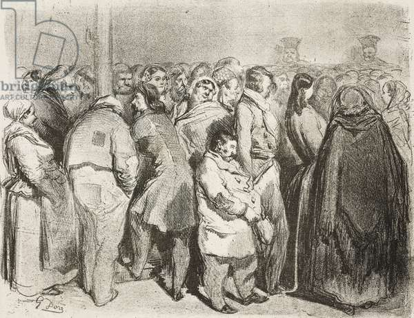 Spectators at police court, Paris, France, illustration by Gustave Dore (1832-1883) from Journal pour rire, Journal Amusant, No 58, February 7, 1857
