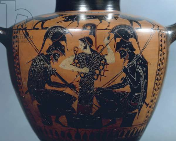 Black-figure pottery, Hydria by Euphiletos Painter depicting Achilles and Ajax playing dice before Athena, detail, circa 520 B.C.