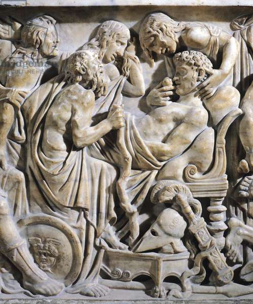 The sarcophagus of Meleager. Detail of a relief depicting the death of Meleager. Roman civilization, 2nd century AD.