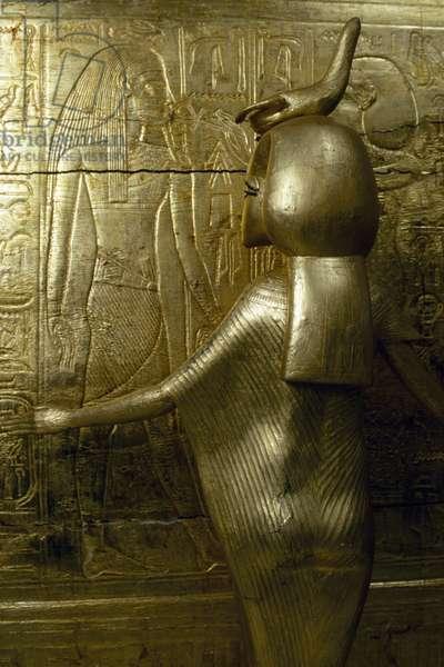 Statue of Selkhet, Detail from gold covered chapel of Tutankhamen, from Tomb of Tutankhamun, Egyptian civilization, New Kingdom, Dynasty XVIII