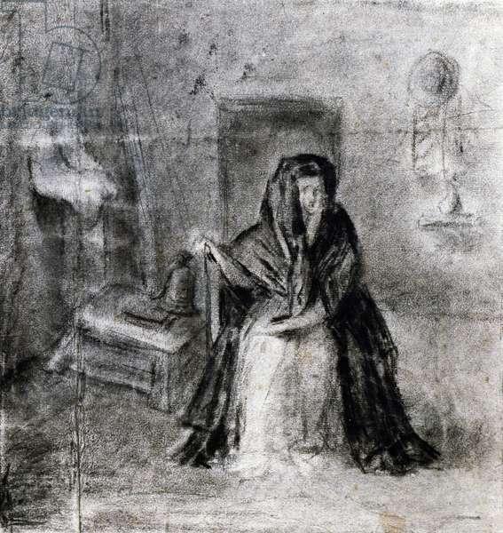 Seated woman, by Antonio Canova (1757-1822), drawing, 18th-19th century