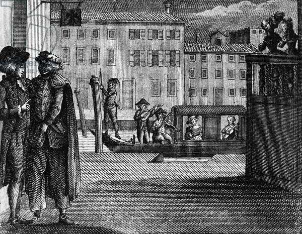 Florindo's serenade, illustration for liar, comedy by Carlo Goldoni (1707-1793), engraving, from Opere teatrali del sig avvocato Carlo Goldoni veneziano, published by Antonio Zatta e figli, 1790, Venice